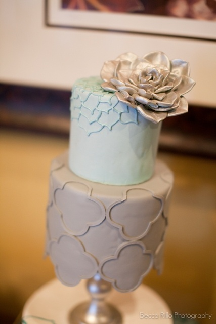 Becca Rillo Photography, Cake Goodness, via Just Wenderful: Flowers Tops, Little Cakes, Trellis Cakes, Aqua Colour, Colors Palettes, Cut Cakes, Bday Cakes, Chic Cakes, Colour Schemes