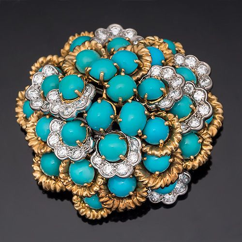 Vintage Fine Jewelry French Diamond & Turquoise Brooch Pin-$6.199.00
