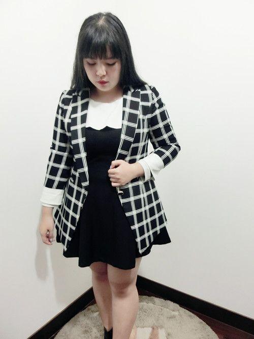 【ANQ家】大码女装秋季新款黑白格子外套西装胖mm显瘦百搭款经典-淘宝网