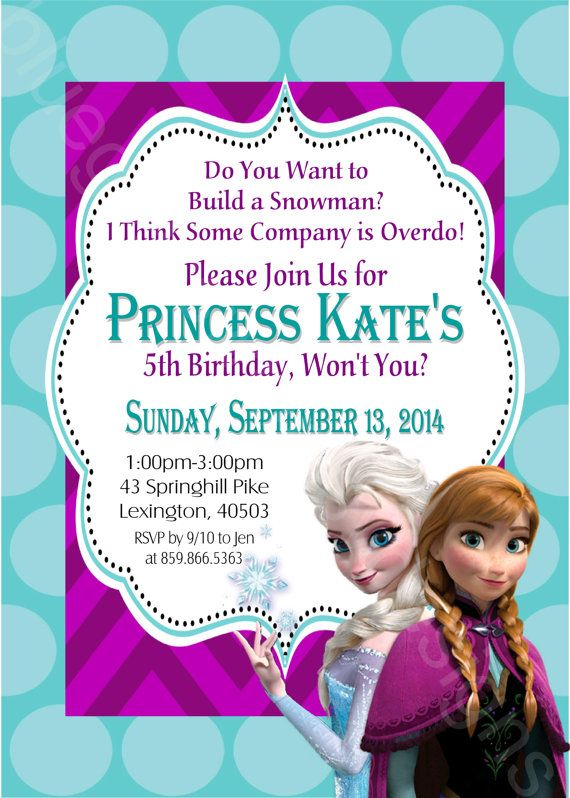 disney frozen  elsa  u0026 anna printable birthday party invitation diy