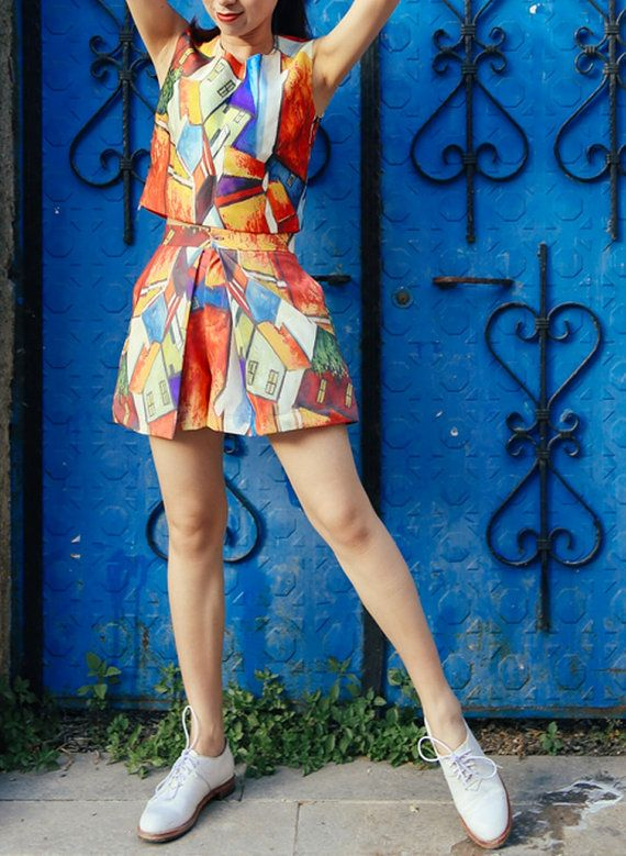 Fine Art Collection the color town oil painting summer set2: top and skirt - Thumbnail 1