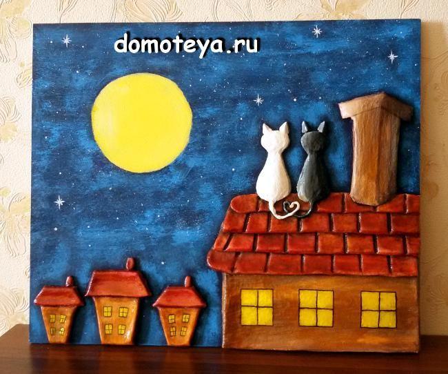 Salt Dough. Fairy houses and cats.   Соленое тесто. Коты и домики.