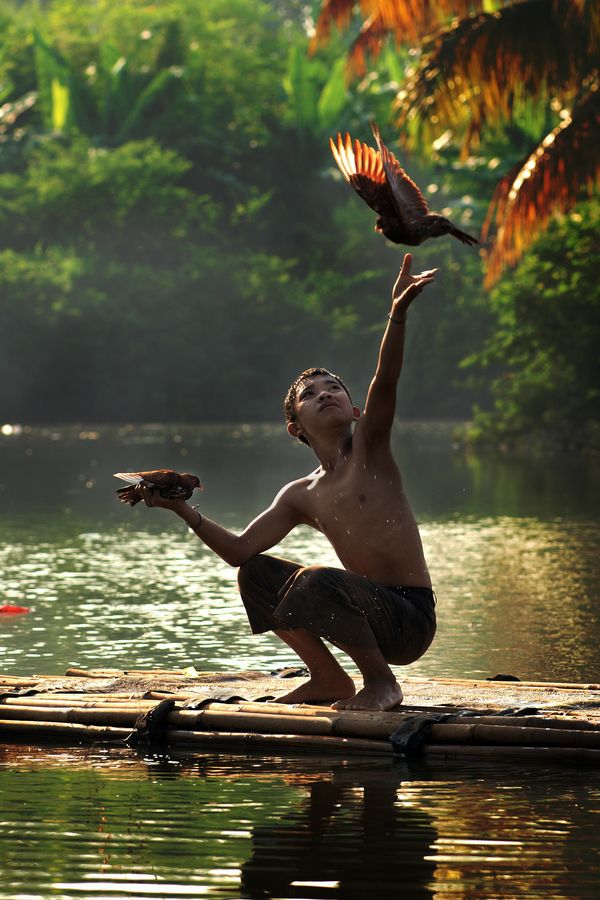 ''Fly Freely'' by Eka Novianto, via 500px -  photo taken in Indonesia - the boy, Rahmat decides to let his pigeon fly free.