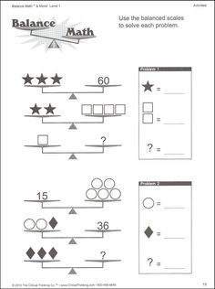 solving two step equations with balancing scales worksheet - Google Search