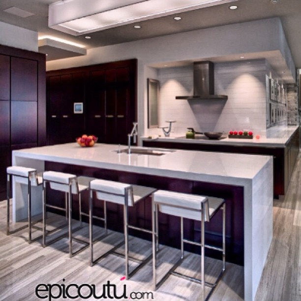 Kitchen- dark cabinets with light countertop