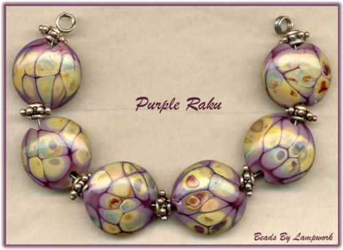 6 purple raku lentils lampwork beads glass bead set sra