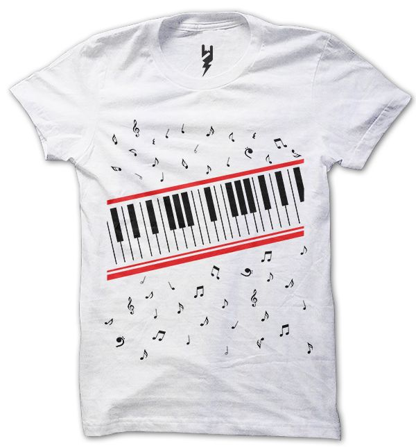 "A must have for the music lover. The classic piano keyboard design complete with falling notes. The piano keys shirt was worn by King Of Pop, Michael Jackson, in the video for ""Beat It""."