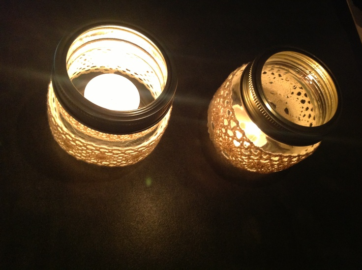 Tealight lanterns I made with lace and jam jars very vintage & pretty! Add some wire and hang!