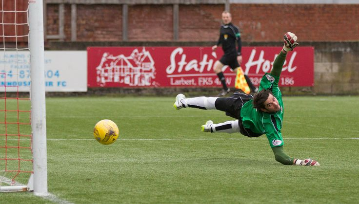 Stenhousemuir's keeper David Crawford can't stop the ball going in during the Ladbrokes League One game between Stenhousemuir and Queen's Park
