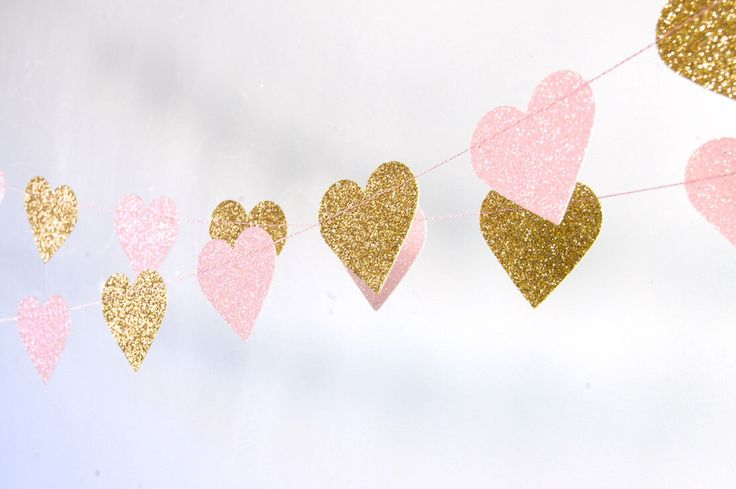 Hearts Garland, Glitter Paper Garland, Gold and Pink, Gold and Blush, Bridal Shower, Baby Shower, Birthday Decor, Pink and Gold Birthday by TheLittleThingsEV on Etsy https://www.etsy.com/listing/227658631/hearts-garland-glitter-paper-garland