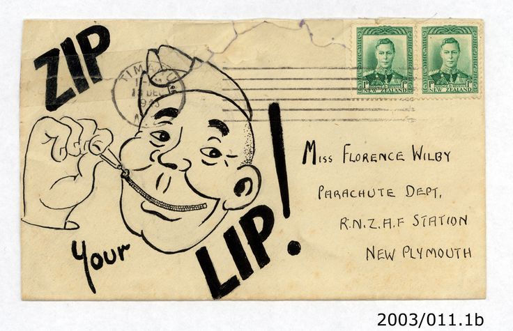 """Zip your lip!"" Jeffrey Timms to Florence Wilby, 13/12/1943. From the collection of the Air Force Museum of New Zealand."