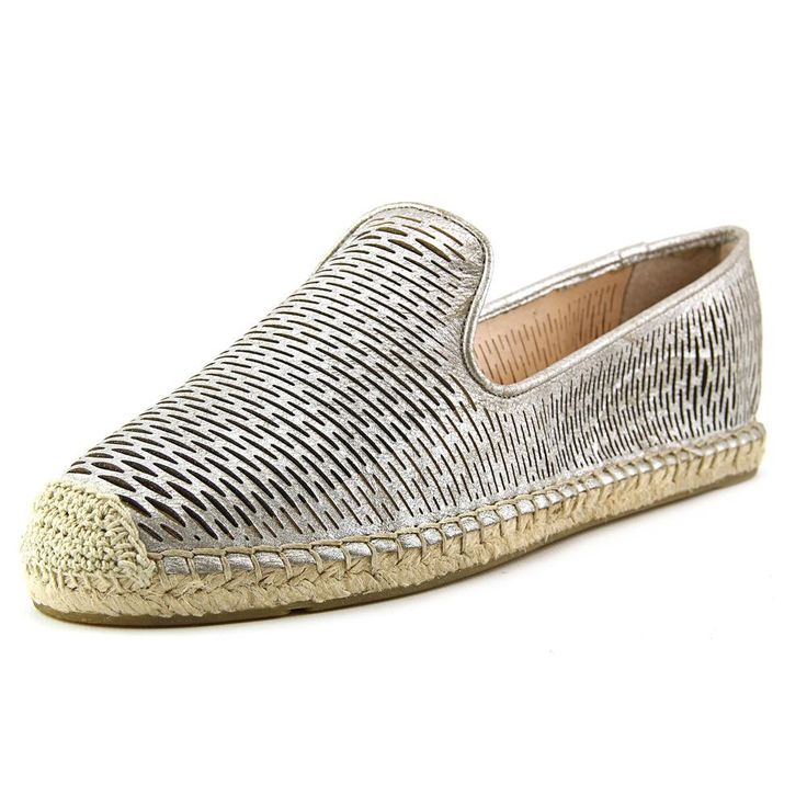 "Vince Camuto Delina Women US 11 Silver Espadrille. The style name is Delina. The style number is DELINA-DSTYCAM. Brand Color: Dusty Camel (Main Color: Silver). Material: Leather. Measurements: 1"" heel. Width: B(M)."