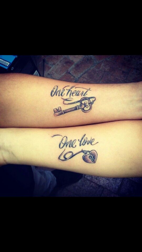 One love one heart lock and key couple tattoo