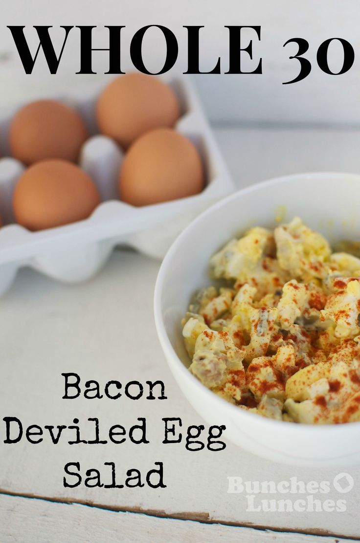 Whole 30 Bacon Deviled Egg Salad Recipe- a creamy, salty and crunchy Whole 30 lunch salad.