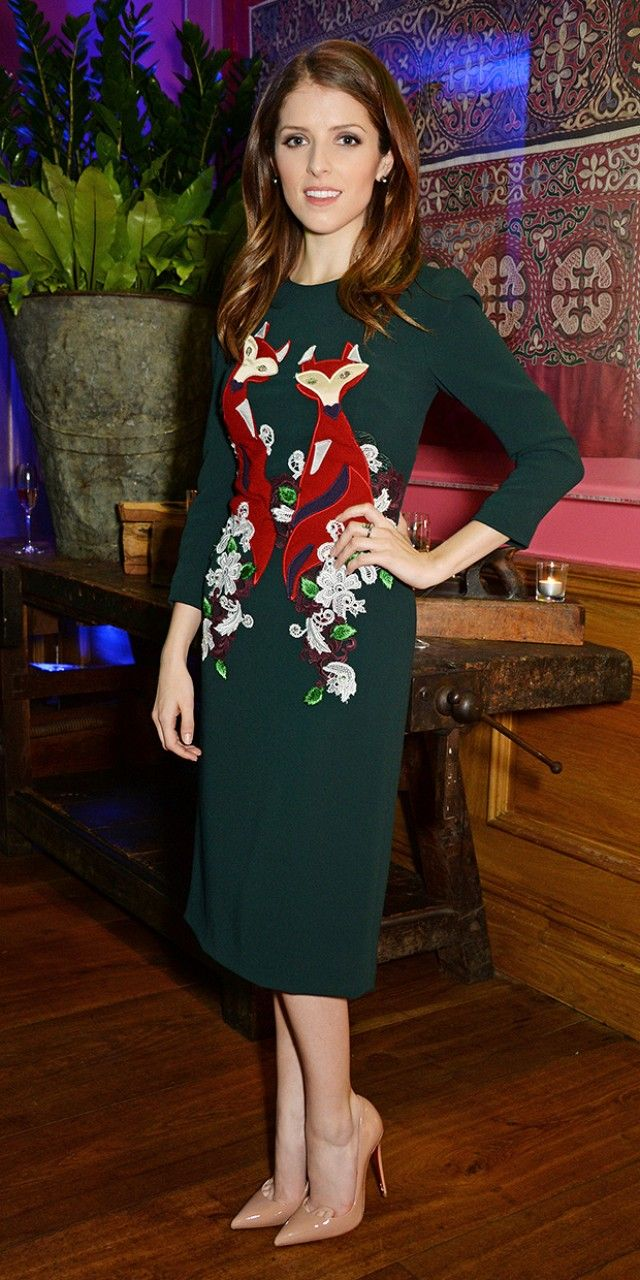 Anna Kendrick gets festive in a Christmas sweater dress