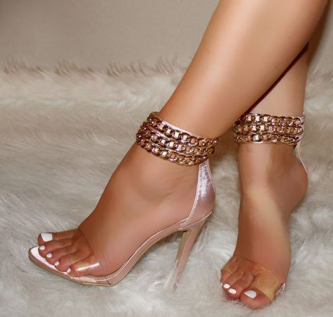 Details about Rose Gold Heels w/Gold Ankle Chains, Clear Strap, Open Toe Sandals, US 5.5-10
