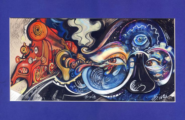 """""""Traveling at the Speed of thoughts"""" painting by Inga Burina, acrylic, ink #elementEdenArtsearch"""