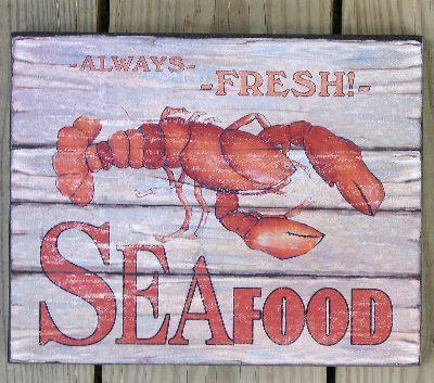 Lobster Seafood Sign. Backyard DecorationsNautical SignsCoastal KitchensFarmhouse  ...