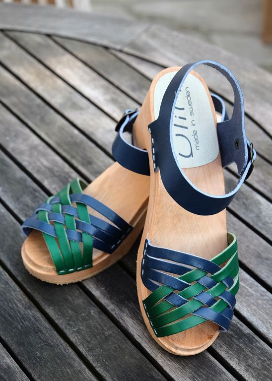 Sandale femme bicolore YLIN en cuir vert et bleu  bleu  vert   Summer   clogs  sandals 4e7705e238ef