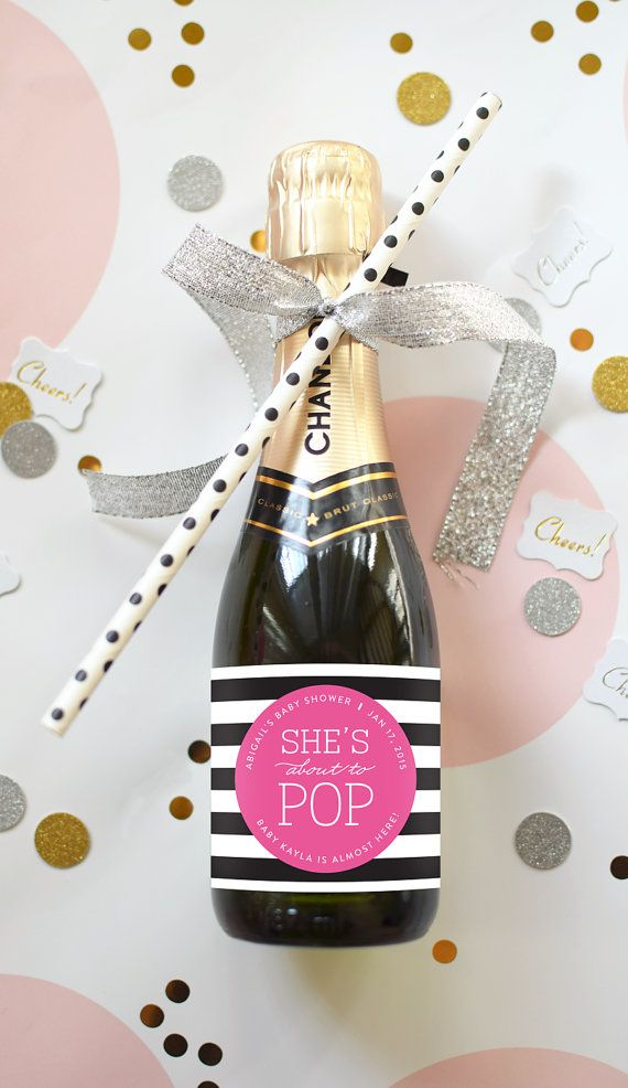 "Adorable ""About to Pop"" mini champagne labels. Great for a Kate Spade themed Baby Shower or Sip & See. Custom colors available. By Label with Love designs."