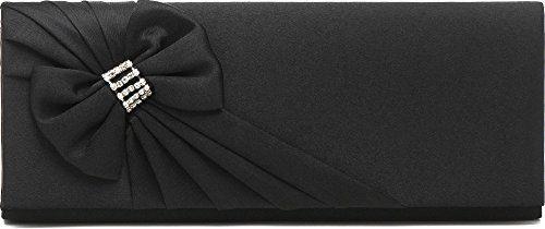 Clutch, Umhängetasche, Unterarmtasche aus Satin mit Raffung und hochwertige Schleifen Aplikation mit Straßsteinen mit abnehmbarere Kette (120 cm), Farbe:Schwarz