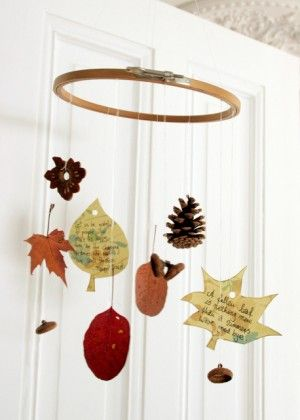Read Giving Thanks by Jonathan London before going on a hike to collect natural treasures for creating an autumn mobile.