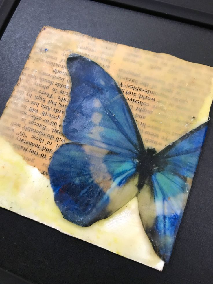 Original encaustic artwork- 'butterfly effect' - blue butterfly encaustic art by NajiaOmer on Etsy https://www.etsy.com/listing/537773119/original-encaustic-artwork-butterfly