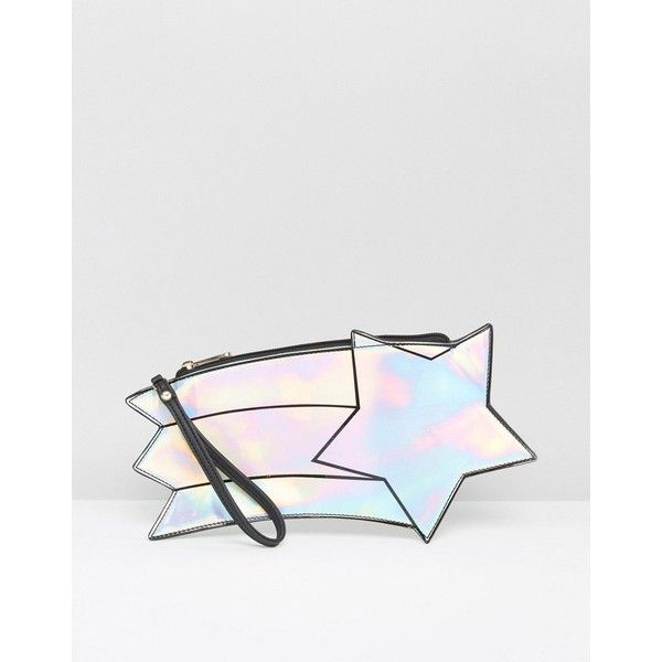 Daisy Street Holographic Shooting Star Clutch Bag (£13) ❤ liked on Polyvore featuring bags, handbags, clutches, holographic, hologram handbag, holographic handbag, holographic purse, hologram purse and white handbags
