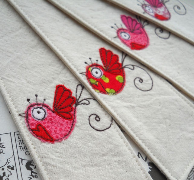 embroidered bird fabric bookmark