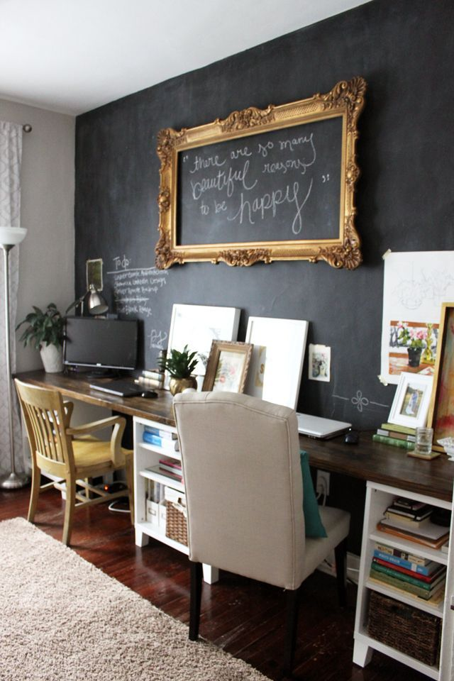 Sweet chalkboard wall for an office setting. The framed message idea is cool.