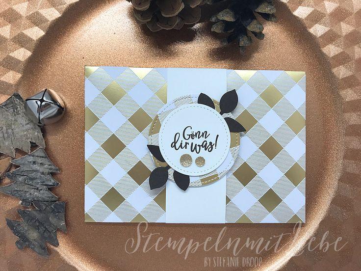 Stampin Up - Gutscheinverpackung - Gold - Silber - Besonderes Designerpapier Metallic-Glanz - Stempelset Perfekter Geburtstag - Espresso♥ StempelnmitLiebe