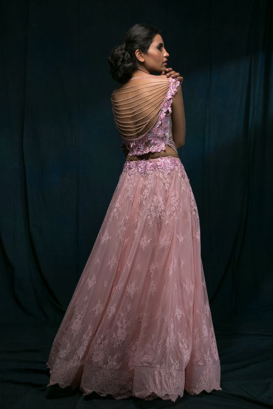 Light Pink Top and Skirt with Bejewelled Ribbed Back