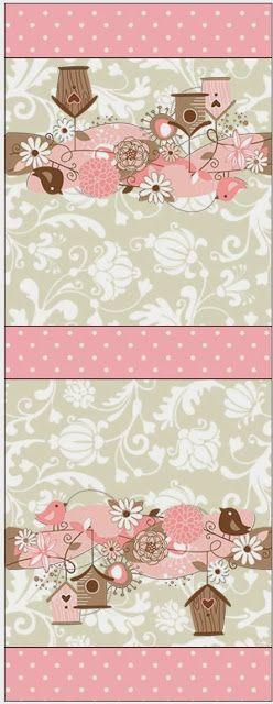 Passarinhos e Flores - Kit Completo com molduras para convites, rótulos para guloseimas, lembrancinhas e imagens!