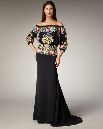 Fiesta Thread-Work Gown by Naeem Khan at Bergdorf Goodman.