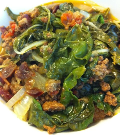 Green Chard and Dried Cranberries with Leftover Ground Turkey