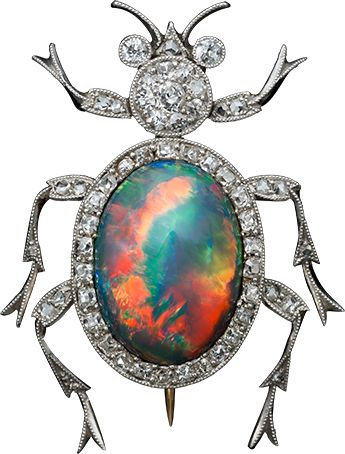 ALBION ART ANTIQUE JEWELRY Platinum, Opal, Diamond Brooch,   Early 20th century.