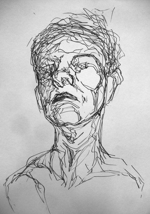 Detailed contour drawing - portrait workshop