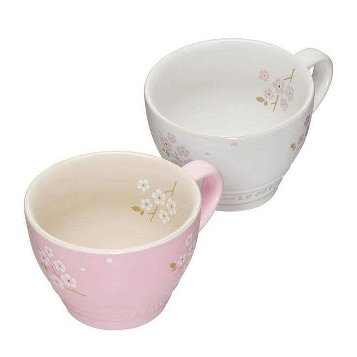 2er Set Cappuccino Tassen 400 ml Chiffon Pink mit Sakura-Dekor & Weiß mit Sakura-Dekor