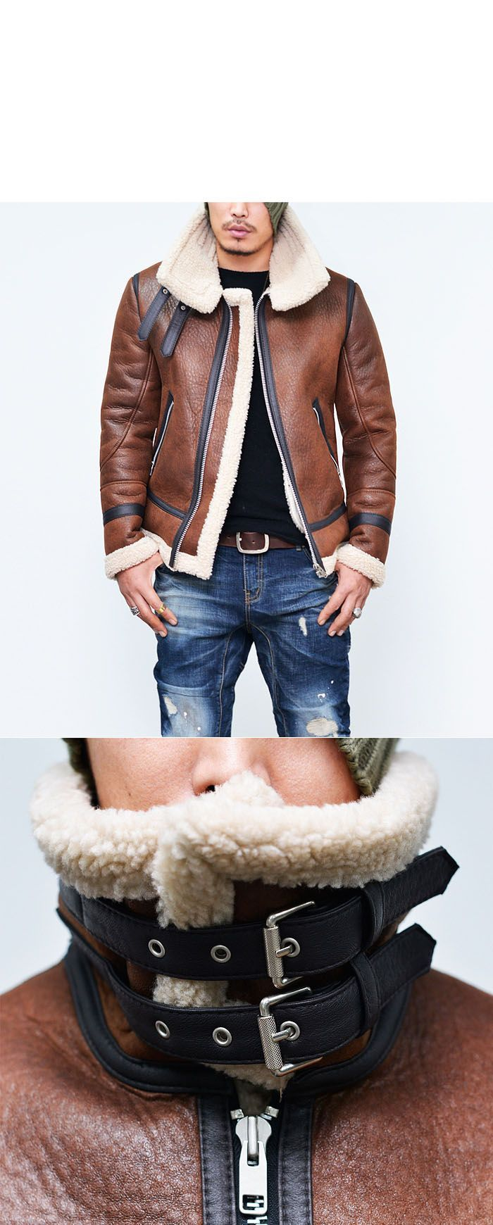 Double-belt Buffalo Highneck Flight Jacket-Leather 76 - GUYLOOK