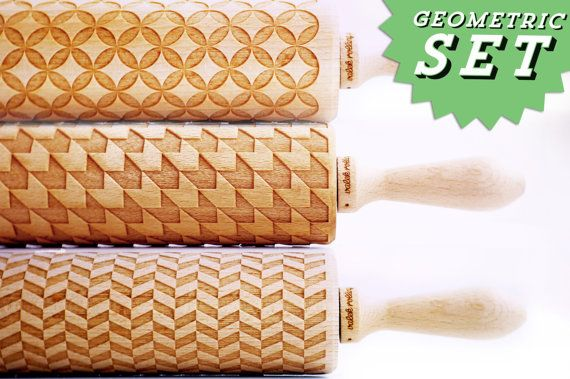 SET OF 3 GEOMETRICAL rolling pin - Embossing rolling pins, laser engraved rolling pins. Circles, houndstooth, tweed.