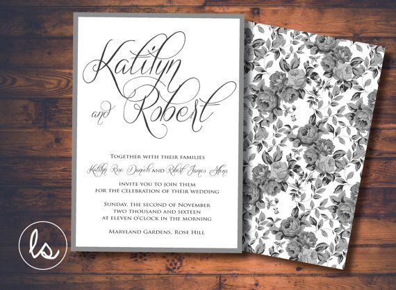 Grey and White Rose Wedding Invitation ~ DIY PRINTABLE ~ Professional Printing with envelopes and postage included