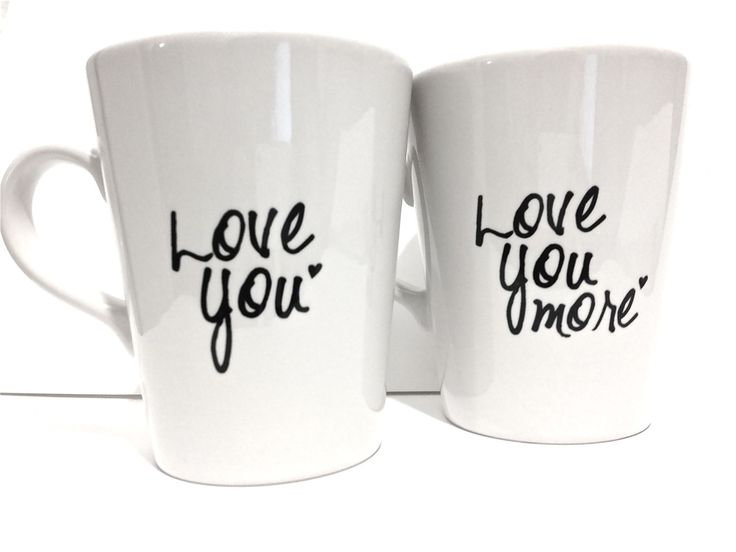 Latte mug couple set of 2 love you & love you more mug set perfect couple gift wedding gift, housewarming Gift. $31.00, via Etsy.