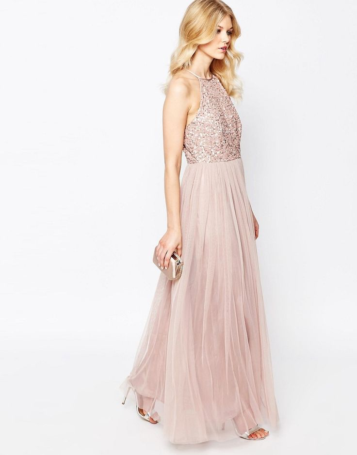 Image 4 of Maya Petite High Neck Maxi Tulle Dress With Tonal Delicate Sequins