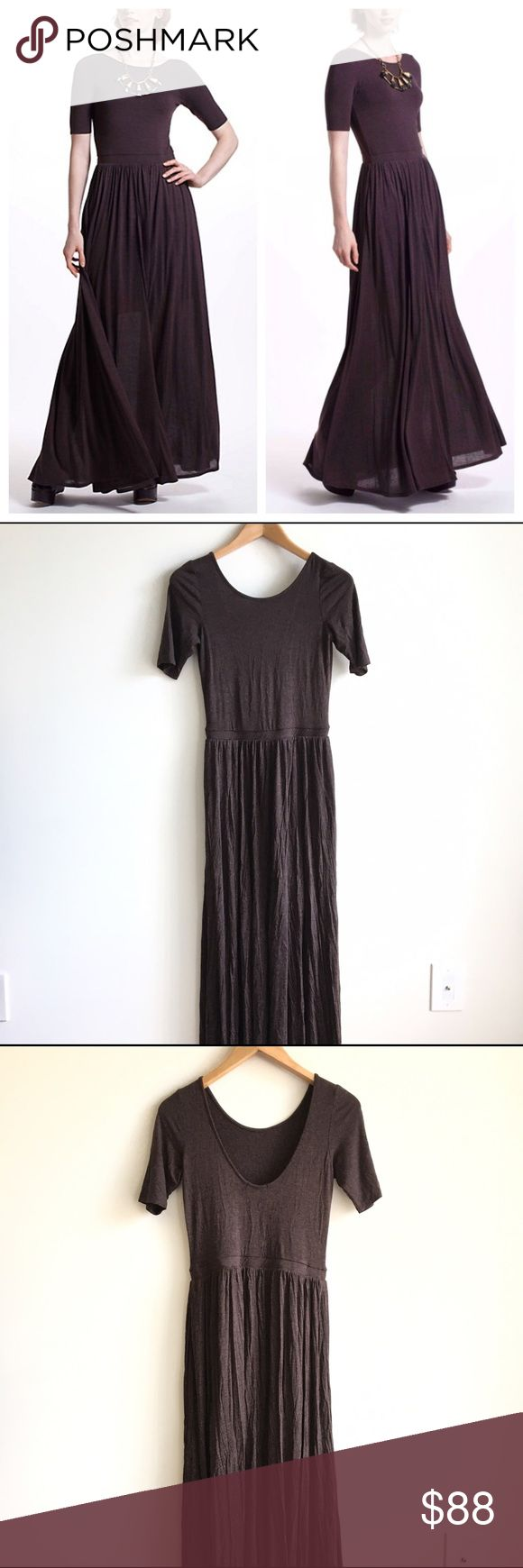 NWT Bordeaux Anthropologie Brown Maxi Dress Gorgeous short sleeved, brown scoop back maxi dress. 94% rayon, 6% spandex. Long, flowy bottom. Perfect for a summer nights out. Mini-dress liner. Cinched at waist. Brand new, with tags. Anthropologie Dresses Maxi