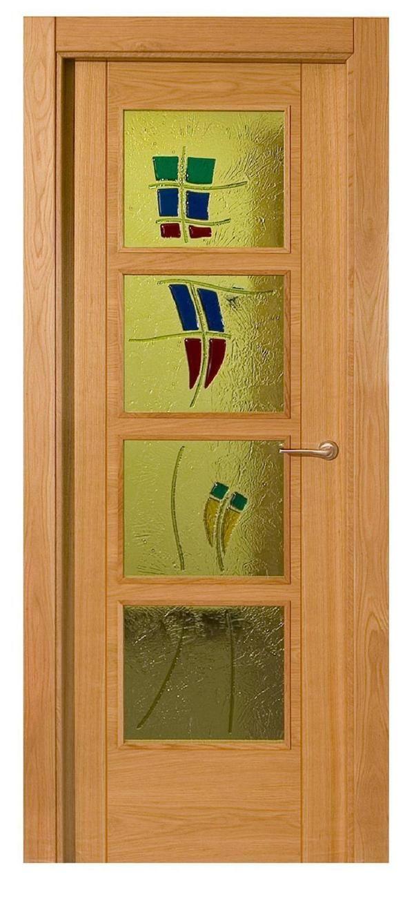 Puerta vidriera mod prv 04 puertas de madera socios - Molduras para puertas ...