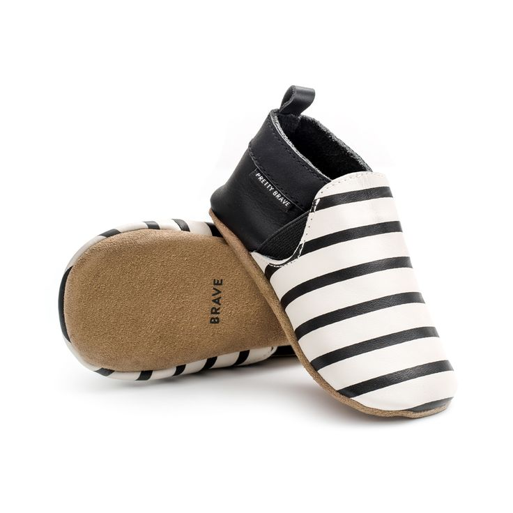 Pretty Brave black & white stripe leather baby shoes. www.gusandfannie.com
