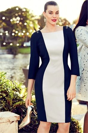 Marina Rinaldi Spring 2014.  Colorblock done well and to the advantage of showing off curves just right.