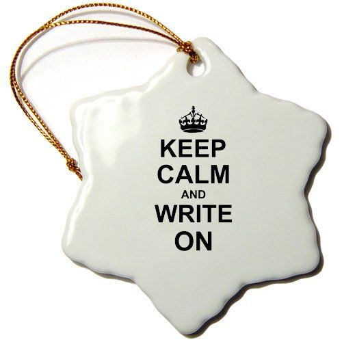 3dRose orn_157787_1 Keep Calm and Write on Carry on Writing Author PhD thesis Writer Gifts Snowflake Porcelain Ornament, 3-Inch 3dRose http://www.amazon.com/dp/B00EKLCE86/ref=cm_sw_r_pi_dp_4s8Aub07XJN2M