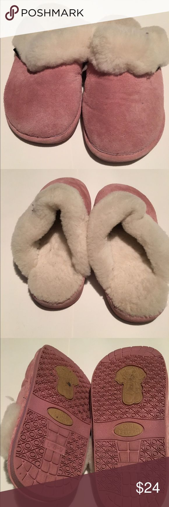 Old Friend Slippers..PINK Old Friend Woman's Slippers... light pink.. in amazing condition... only worn a few times inside the house.. sheep skin lined!! Super Super warm! old friend Shoes Slippers
