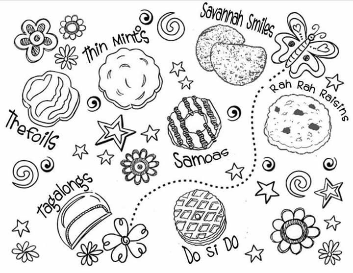 gs cookie coloring sheet gs cookiesgirl scout